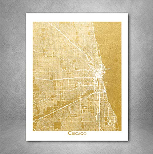 Chicago Street Map Gold Foil Art Print City of Chicago Poster, 8x10 inches A4