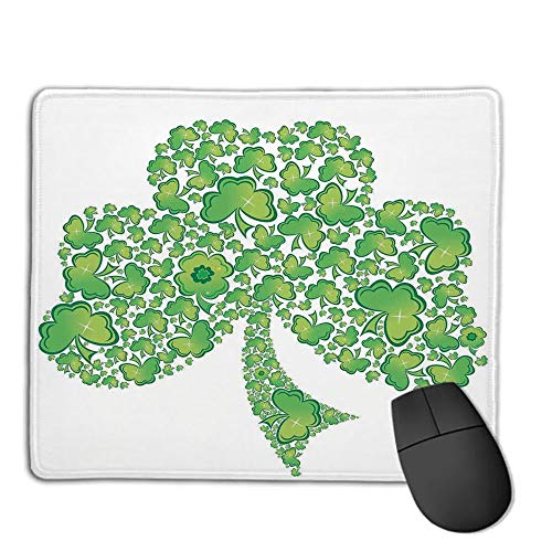 Trinity Patterns (Computer Mouse Cushion and Natural Rubber Back and Cloth Surface,Celtic,Irish Shamrock Figure Made with Small Clover Patterns Holy Trinity Symbol Graphic,Green White,Applies to Games,Home, School,of)