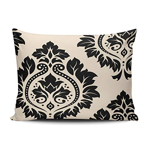 - Fanaing Bedroom Custom Decor Decorative Damask Art Black on Cream Pillowcase Soft Zippered Throw Pillow Cover Cushion Case Fashion Design Double-Sided Printed Boudoir 12x20 Inches