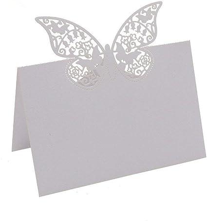 50pcs papillon place cartes glasanhänger papier pendentif nom cartes