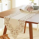 Luxiu Home Simple light cream yellow embroidered hollow table runner with tassels 15 x 75 inch approx