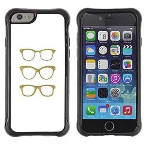 Suave TPU Caso Carcasa de Caucho Funda para Apple Iphone 6 PLUS 5.5 / Hipster Glasses Bling White Minimalist / STRONG