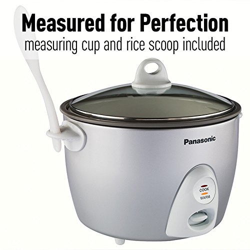 Panasonic SR-G18FGL (10-Cup Uncooked) Auto Rice Cooker with Steaming Basket, Silver