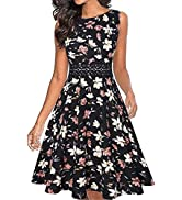 OWIN Women's Vintage Floral Lace Flared A-Line Swing Casual Party Cocktail Dresses Sleeveless