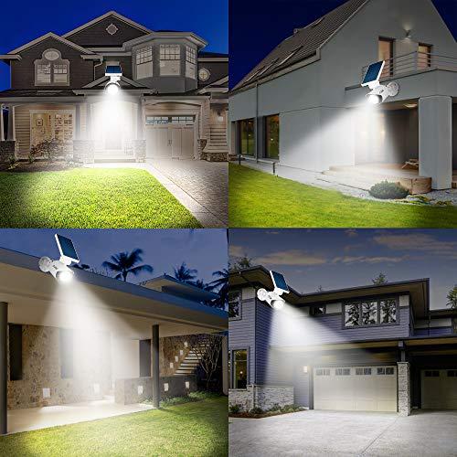 Solar Motion Sensor Light Outdoor - 800Lumens 8 LED Spotlight 5-Watt Solar Lights Outdoor IP66 Waterproof, Wireless Solar Flood Light for Porch Garden Patio Driveway Pathway,Plastic,Pack of 2 (White) by A-ZONE (Image #6)