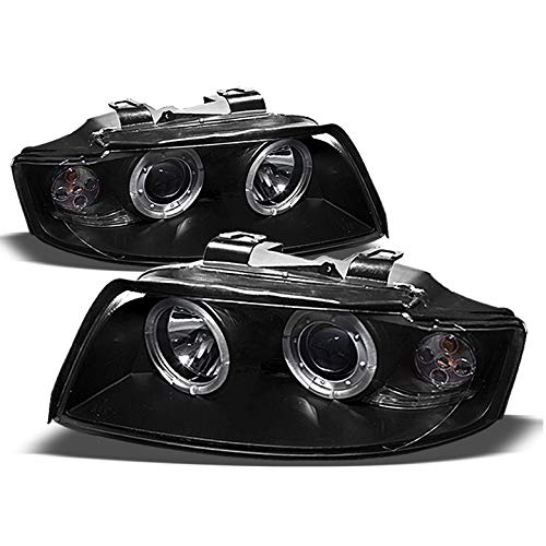Xtune 2002-2005 Audi A4 S4 Twin Halo Projector Black Headlights Head Lights Pair Left+Right 2003 2004