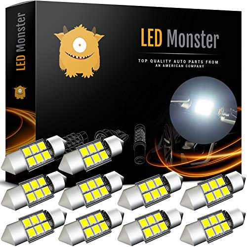 - LED Monster 10-Pack 6 SMD 31mm LED Bulb CANBUS 3030 Festoon White Color Chipset Error-Free Festoon Lights Map Dome Door Light for DE3175 DE6428 (10)