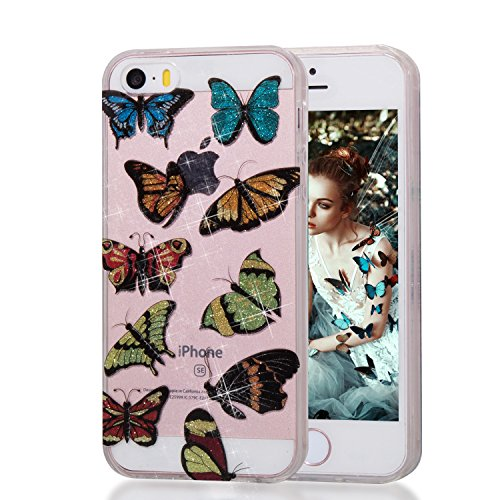 Aearl for iPhone SE 5 5S TPU Soft Flexible Ultra Transparent Crystal Clear Case IMD Bling Glitter Shiny Powder Colorful Painted Back Bumper Protective Cover with Screen Protector - Colorful Butterfly (Powder Se)