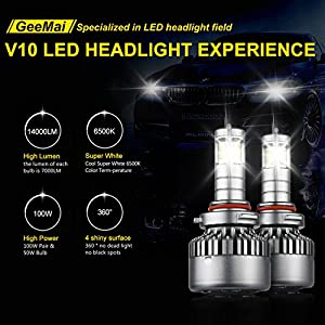 GEEMAI LED Headlight Bulbs All-In-One Conversion Kit-9005(H10/HB3),14000LM/100W/6500K Cool 4 Top CSP Light Source,360° No Dead Light,Lifetime Support.