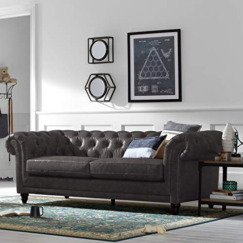 "Stone & Beam Bradbury Chesterfield Tufted Leather Sofa Couch, 92.9""W, Black"