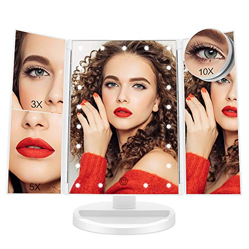 FASCINATE Lighted Makeup Mirror with Lights and Magnification 3X/5X/10X, 21 LEDs Trifold Makeup Vanity Mirror 180° Rotation Touch Screen Cosmetic Beauty Mirrors Dual Voltage Desk Mirror Tabletop (Whit