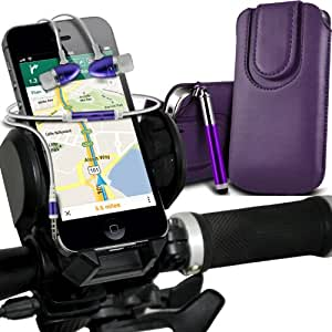Wiko Darkmoon Premium Protective PU Leather Magnetic Button Pull Tab Cord Slip In Pouch Pocket Skin Cover Quick Case, Premium Quality in Ear Buds Stereo Hands Free Headphones Headset with Built in Microphone Mic & On-Off Button, Retractable Sylus Pen & Universal Bicycle Bike Mount Holder Support Stand Cradle Handlebar Support 360 Degree Rotation Dark Purple by Fone-Case
