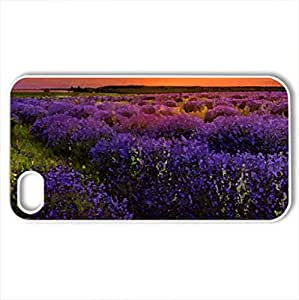 Lavender field - Case Cover for iPhone 4 and 4s (Fields Series, Watercolor style, White)