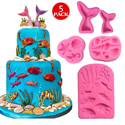 Marine Theme Fondant Silicone Mold,Seashell,Mermaid Tail,Seaweed,Coral,Fish DIY Handmade Baking Tools for Mermaid Theme Cake Decoration,Chocolate,Candy,Fondant,Polymer Clay,Crafting Projects