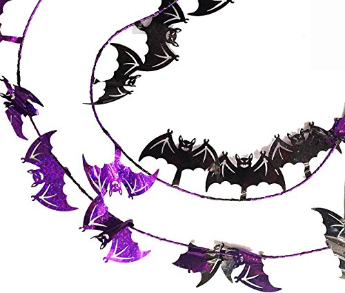 SKD Party Purple Black Halloween flying Bats Shaped Tinsel Wire Garland 18 ft x 2 packs (36 ft total) Bat Garland