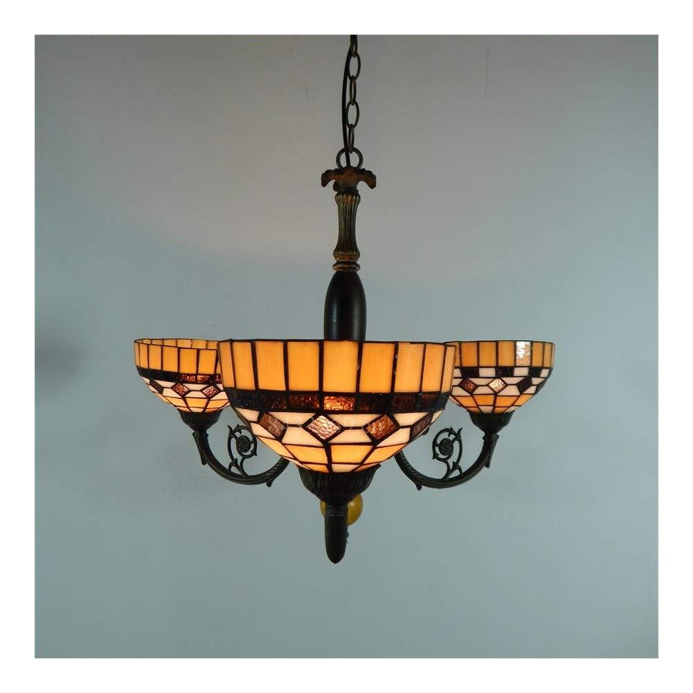 Soft Lighting Handmade Pendant Light for Art Decoration, Stained Glass Three Heads Pendant Chandelier Dining Hall Handmade