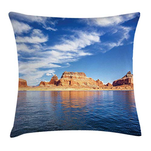 (Ambesonne Arizona Throw Pillow Cushion Cover, Panoramic Landscape Famous Lake Powell Rock Formations, Decorative Square Accent Pillow Case, 16 X 16 Inches, Azure Blue Persian Orange Night Blue)