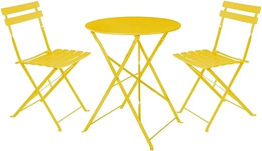 LOLAhome Conjunto de Mesa y 2 sillas para Exterior de Acero (Amarillo): Amazon.es: Jardín