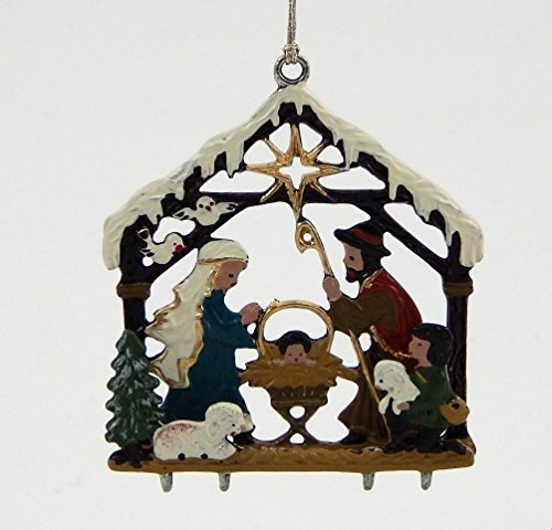 Snowy Nativity German Pewter Christmas Ornament