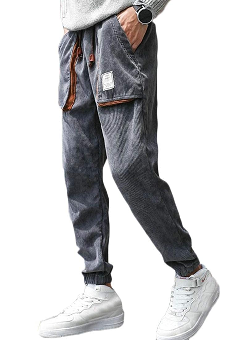 WSPLYSPJY Mens Classic Corduroy Cargo Jogger Pants Loose Running Sports Trousers