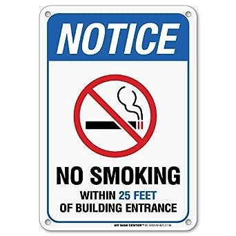 Aviso no smoking dentro de 25 Pies de construcción de ...