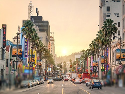 Laeacco Vinyl 7x5ft Backdrop Photography Hollywood Walk Background Los Angeles Hollywood Boulevard Sunset City Street View Art Backdrop Camera Shooting Busy City Photo Video Studio Props (Los Angeles Photo)