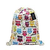 Artone Owls Drawstring Bag Travel Daypack Sports Portable Backpack White