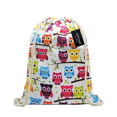 Artone Owls Drawstring Bag Travel Daypack Sports Portable Backpack White by Artone