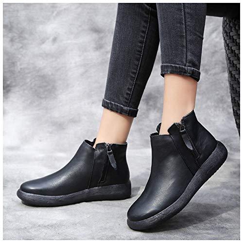 À À Da Fermeture Botte Noir Chaussures Bottes a Martin De Stivaletti Donna Caviglia En Glissière Pelle 7yxqFng