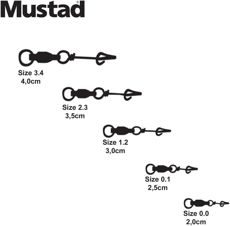 Mustad Fastach Clip W/Ball Bearing Swivel Fishing Terminal Tackle (12 Pack), Black, Size 1.2