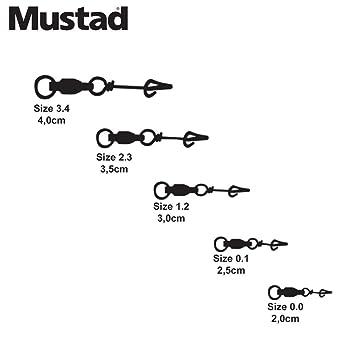 12/Pack Mustad Fastach Clip w//Kugellagerwirbel Angeln Terminal Tackle schwarz Gr/ö/ße 2,2