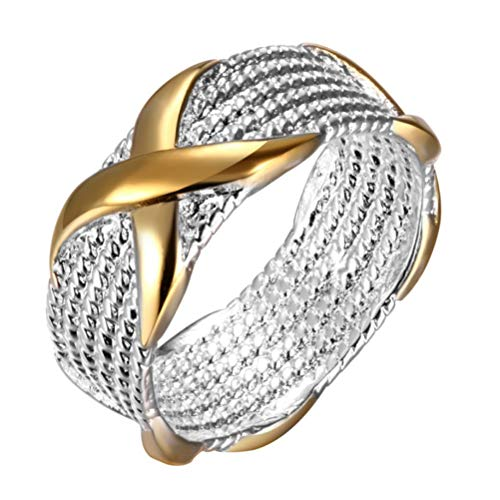 (Luoem Womens Fashion Silver-Plate Wide Gold X Criss Cross Love Eternity Ring Wedding Band (Number 7))