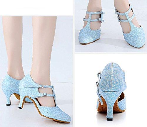 Anti de Danse des Chaussures Sandale Chaussures de Latine Bleu Femmes de Dérapant Womens WYMNAME Salle Bal wvqtXX