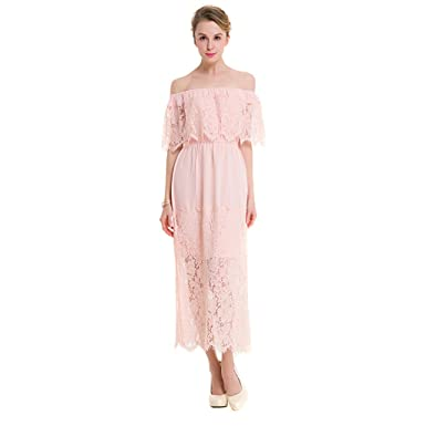 Image Unavailable. Image not available for. Color  Women s Striped Shirting  Off Shoulder Lace Dress Black Pink 73f72c1533