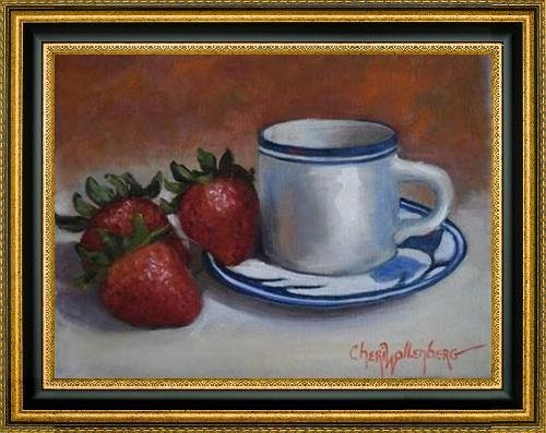 """Strawberries and Cup and Saucer by Cheri Wollenberg - 29"""" x 22"""" Framed Premium Canvas Print"""