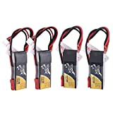 TATTU 4PCS 7.4V 300mAh 2S 45C LiPo Battery Pack with JST-SYP-2P Plug for Emax Babyhawk Micro FPV Quad Racing Drone