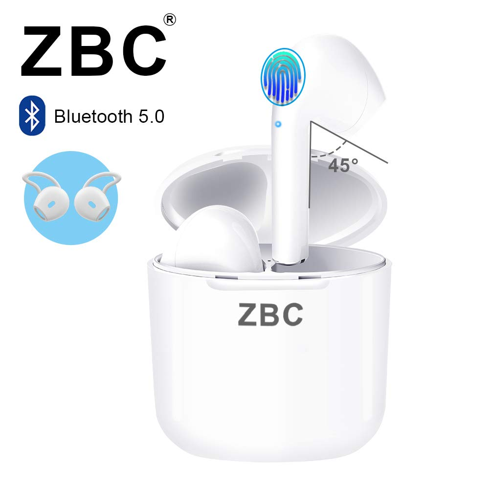 ZBC I9 Touch Wireless Earbuds Bluetooth 5.0 with Charging Case IPX7 Waterproof TWS Stereo Headphones Noise Cancelling in-Ear Built-in Mic Headset Premium Sound with Deep Bass Earphone for Sport