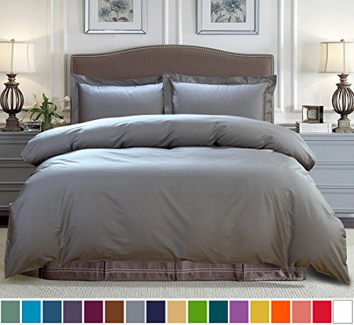 SUSYBAO 100% Cotton 3 Pieces Duvet Cover Set King Size 1 Duvet Cover 2 Pillow Shams Stone Grey (Organic Cotton King Duvet Cover)