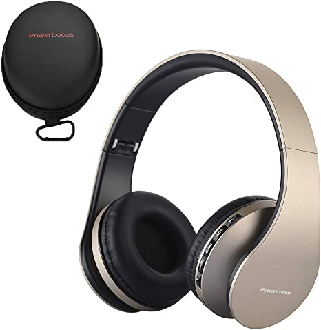 PowerLocus Wireless Bluetooth Over-Ear Stereo Foldable Headphones, Wired Headsets with Built-in Microphone for iPhone, Samsung, LG, iPad (Gold)