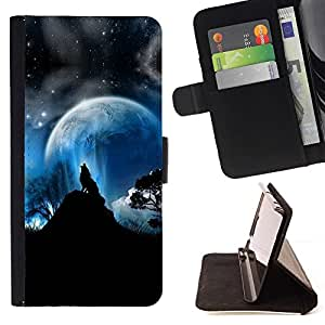 DEVIL CASE - FOR Sony Xperia Z2 D6502 - Full Moon Wolf Wolves Howl Stars - Style PU Leather Case Wallet Flip Stand Flap Closure Cover