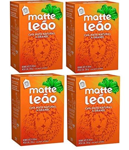 Leão - Mate Tea - Natural Whole Grain Tea - Roasted Tea - 8.82 Oz (PACK OF 1) | Natural Matte Tea In Bulk - Toasted Mate Tea - 250g - 8.82 Oz (PACK OF 4) | Chá Matte Natural A Granel - Chá Mate Tosta ()