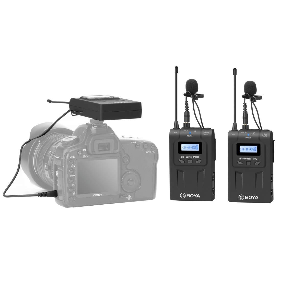 BOYA by WM8 Pro デュアルチャンネル 48CH UHF ワイヤレスマイクシステム 送信機と受信機付き デジタル一眼レフカメラとビデオカメラ用 (ブラック)   B07KNRFR3S