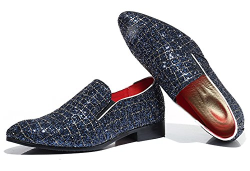 Checkered Fashion Smoking Slipper Moccasins Dress Blue Santimon Glitter Slip Casual on Mens Shoes Metallic Loafer qpxYCB