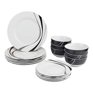 AmazonBasics 18-Piece Kitchen Dinnerware Set, Plates, Dishes, Bowls, Service for 6, Swirl