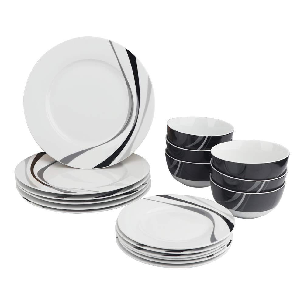 AmazonBasics 18-Piece Dinnerware Set - Swirl, Service for 6
