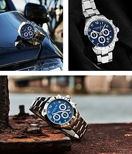 Blue Quartz Chronograph Mens Watch by Stuhrling Original. Solid Stainless Steel Watch Bracelet Watch Band Deployant Clasp. 50 Meter Water Resistant. Stylish gift watches for men. by Stuhrling Original (Image #5)