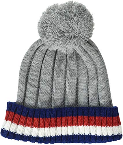 Tommy Hilfiger Men's Cold Weather Cuffed Beanie, Light Gray/Multi, One Size