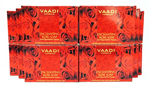 Handmade Herbal Soap Bar - Red Rose Petal Bar Soap - Handmade Herbal Soap with 100% Pure Essential Oils - ALL Natural - Anti-pigmentation Therapy - Each 2.65 Ounces - Pack of 12 (32 Ounces, 2 Lb) - Vaadi Herbals