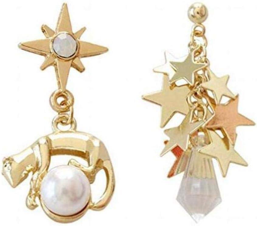 BOC Pendientes Colgantes para Mujer Pentagram Sol Mono Asimétrico con Aretes de Perla,UNA,Aretes