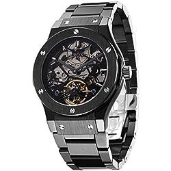 Skrox Men's Luxury Black Stainless Steel Skeleton Automatic Mechanical Wrist Watch